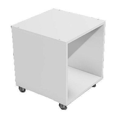 Criado mudo / cubo em MDF com rodízios vazado 40x40x40cm