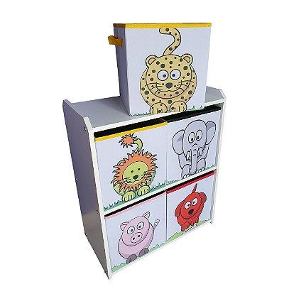 Estante organizadora montessoriano infantil - com caixas estampadas