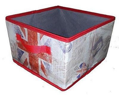 Caixa organizadora em couro ecológico - 30x20x30 cm - sem tampa - Londres