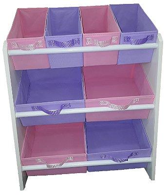 Organizador de brinquedos Infantil - OrganiBox - Médio rosa e lilás