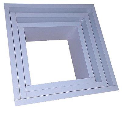 Conjunto 3 nichos Quadrados em MDF Branco