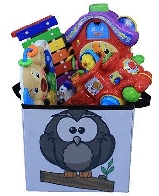 Caixa organizadora de brinquedos infantil - estampada