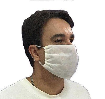 Mascara de proteção facial - tecido lavável - TNT 60g - Branca
