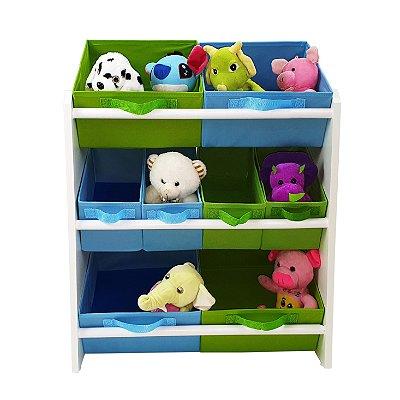 Organizador de brinquedos infantil médio - verde limão e azul bebê