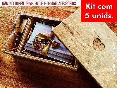 Kit c/ 5 unidades - Caixa de Provas - Modelo 1 (Espaço para fotos + Compartimento para Pen drive)