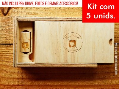 Kit c/ 5 unidades - Caixa de Provas - Modelo 2 Slim (Espaço para fotos + Compartimento para Pen drive)