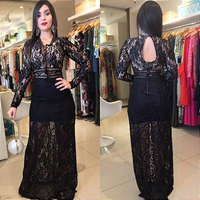 Vestido longo total renda preto