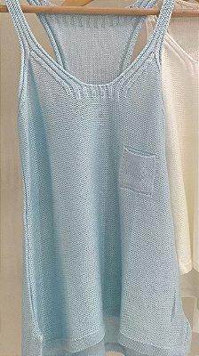 Regata tricot azul bebe