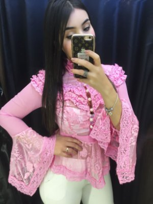 Blusa peplum Turquia rosa chiclete