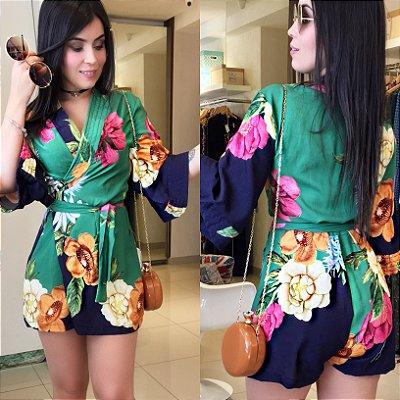 Macaquinho kimono estampa verde