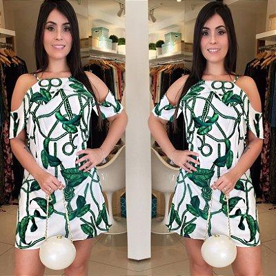 Vestido folhagem branco e verde