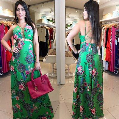 Vestido verde mangueira