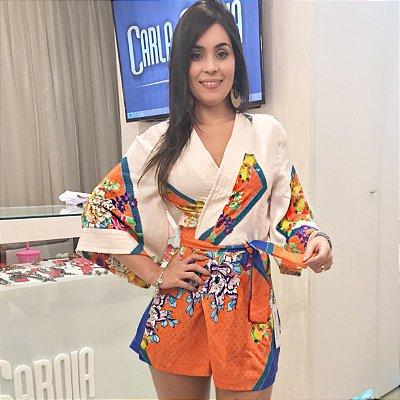 Macaquinho kimono laranja