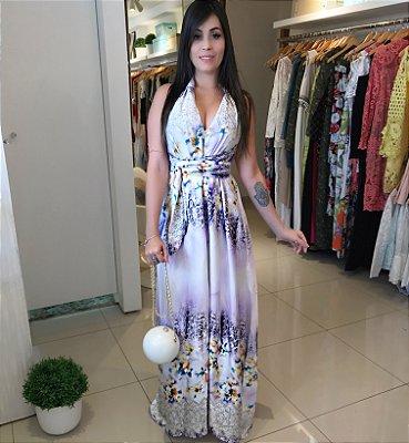 Vestido universal estampa lilás