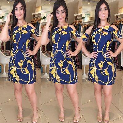 Vestido azul com detalhes amarelo