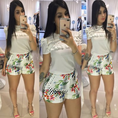 Short Branco com estampa e guippir
