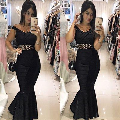 Vestido longo sereia bandagem preto
