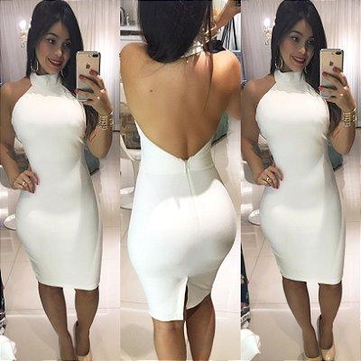 Vestido Branco gola rolê sem bojo