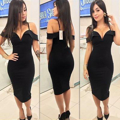 Vestido com aro alça e manguinha preto