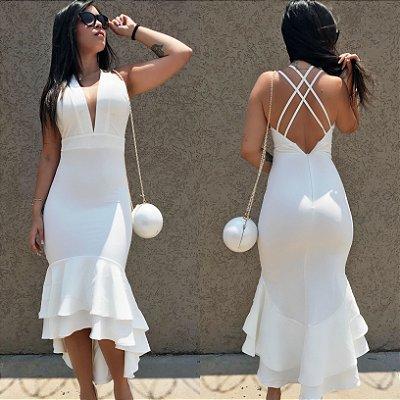 Vestido alfaiataria Branco babado