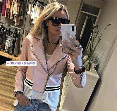 Jaqueta couro fake rosa