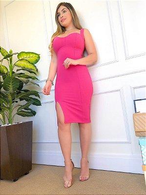 Vestido Midi Tubinho Pink com Fenda e Alcinha