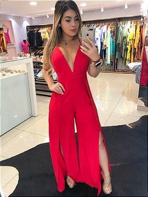 Macacão Longo Pantalona Vermelho Decotado com Alcinha
