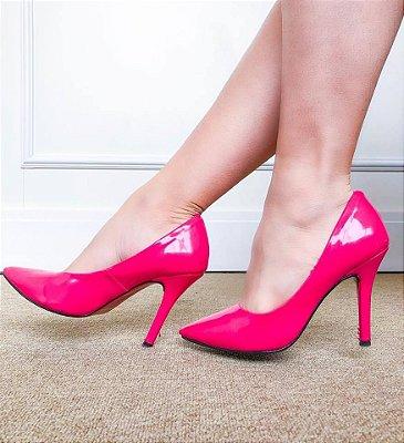 Scarpin Salto Fino Alto Bico Fino Verniz Pink