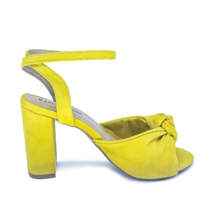 Sandália Salto Grosso Nozinho Amarelo Amélia
