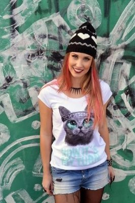 Camiseta Feminina Gato Hippie