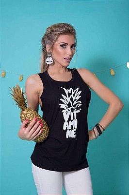 Camiseta Feminina Regata Abacaxi Vitamine