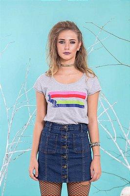 Camiseta Feminina Unicórnio Listras