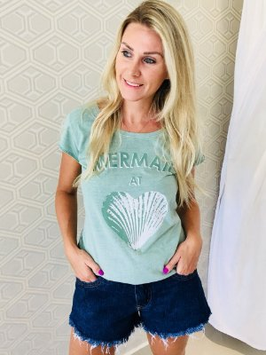 Camiseta feminina Stone Verde Mermaid At Heart
