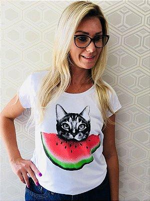Camiseta Feminina Gato Melancia