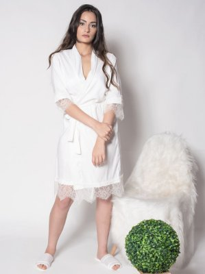 Robe Branco com Renda Exclusiva