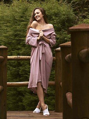 Kimono Chloe Rosa Chá Longo - Crepe Bubble