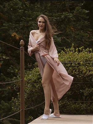 Kimono Chloe Nude Longo - Crepe Bubble