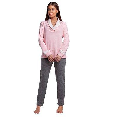 Pijama Feminino de Inverno Mescla com Blusa Rosa