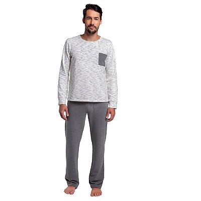 Pijama Masculino de Inverno Mescla Escuro Risk