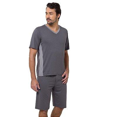 Pijama Masculino Curto Cinza Chumbo