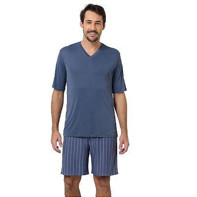 Pijama Masculino Curto Listrado Denin e Branco
