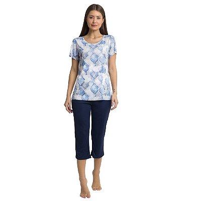 Pijama Feminino Capri Snake Blue