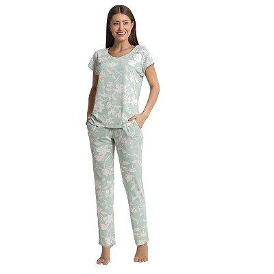 Pijama Feminino com Calça e Bolso Mint Flower