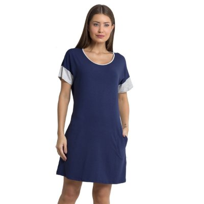 Camisão Feminino Curto Azul Marinho com Bolso