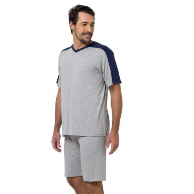 Pijama Masculino Curto Mescla e Azul Marinho