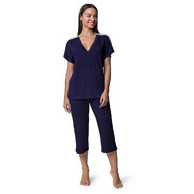 Pijama Feminino Capri Azul Marinho com Renda