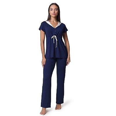 Pijama Feminino Gestante Azul Marinho com Cetim