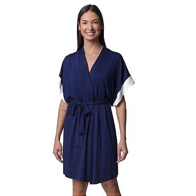 Robe Feminino Curto Azul Marinho com Cetim