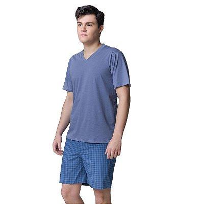 Pijama Masculino Curto Azul Mini Check