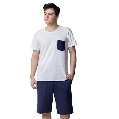 Pijama Masculino Curto com Bolso Azul Marinho